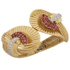 1959 Kutchinsky London  Ruby Diamond Gold Bangle Bracelet