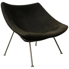 1959, Pierre Paulin, Large Early Oyster Easy Chair F157 in Original Black Fabric