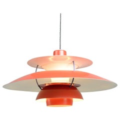 1959 Red Model PH5 Pendant Light by Louis Poulson