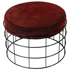 1959 Wireframe T1 Stool by Verner Panton, Suede Leather