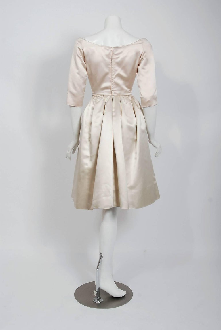 Vintage 1959 Yves Saint Laurent for Christian Dior Haute-Couture Satin Dress In Good Condition For Sale In Beverly Hills, CA