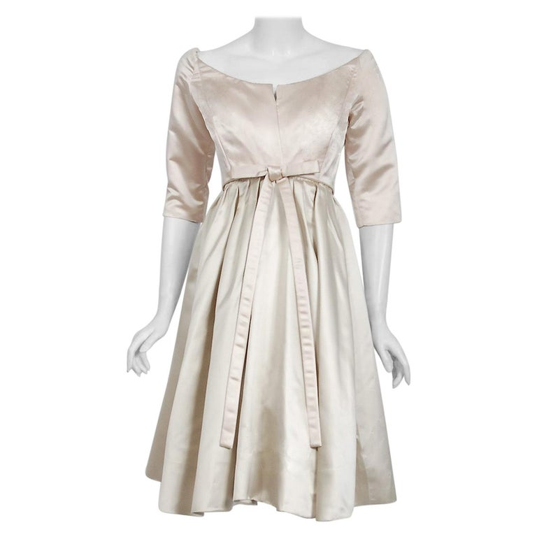 1959 Yves Saint Laurent for Christian Dior Haute-Couture Champagne Satin Dress For Sale