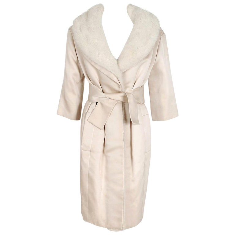 1959 Yves Saint Laurent for Christian Dior Haute Couture Ivory Silk Mink Coat For Sale