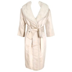 1959 Yves Saint Laurent for Christian Dior Haute Couture Ivory Silk Mink Coat