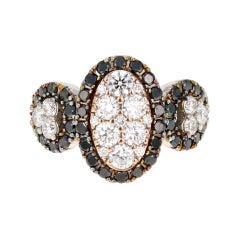 1.96 Black and White Diamond 14 Karat White Gold Cocktail Ring