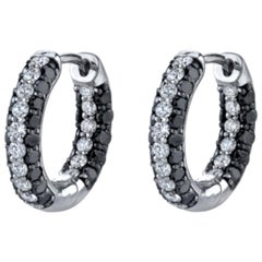 1.96 Carat Black Diamond and White Diamond Hoop Earrings 18 Karat White Gold