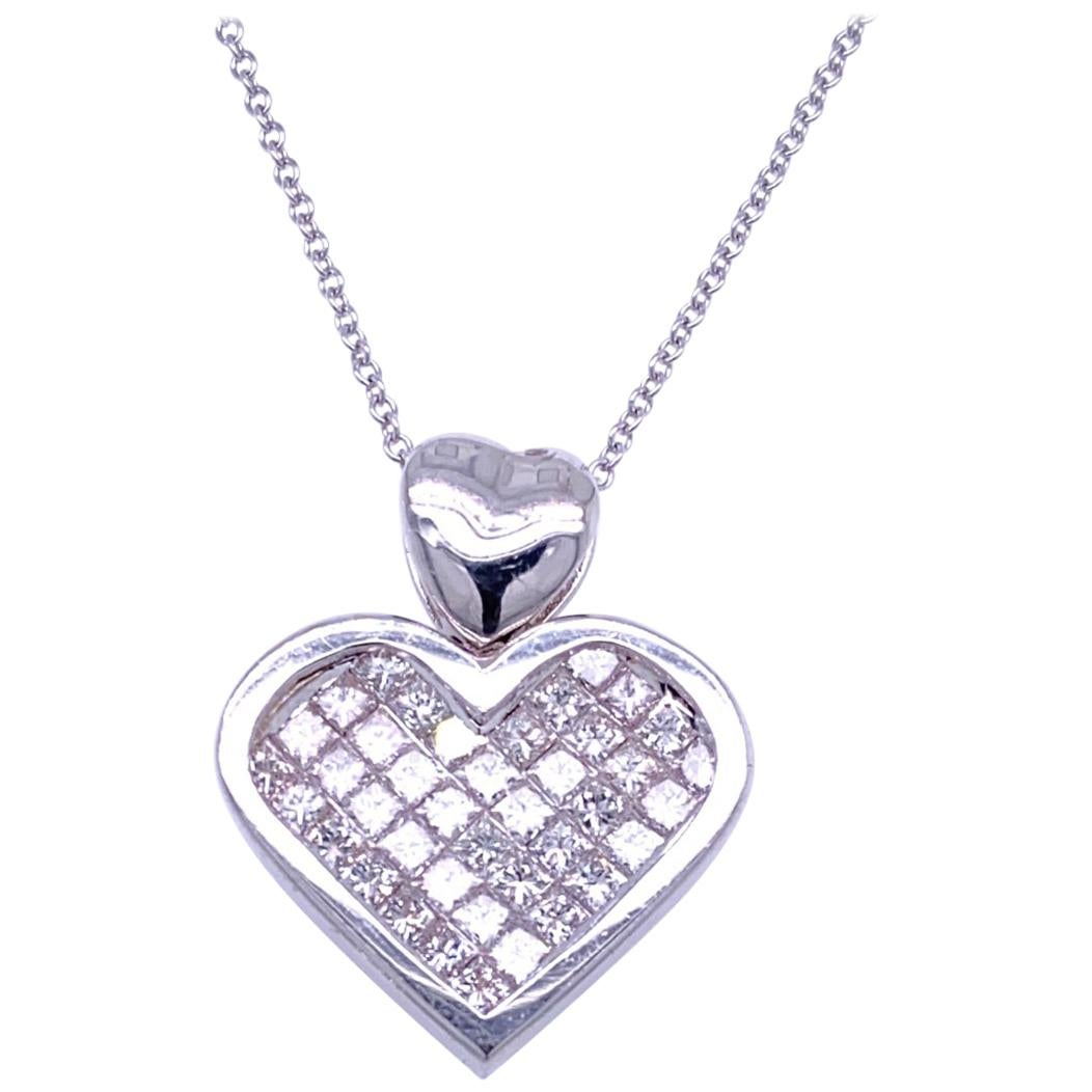 1.96 Carat Diamond 18 Karat Gold Hearts Pendant Necklace