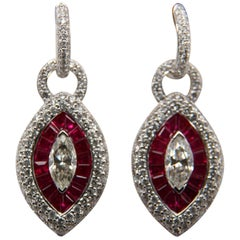 1.96 Carat Diamond and Ruby 18 Karat Gold Earring