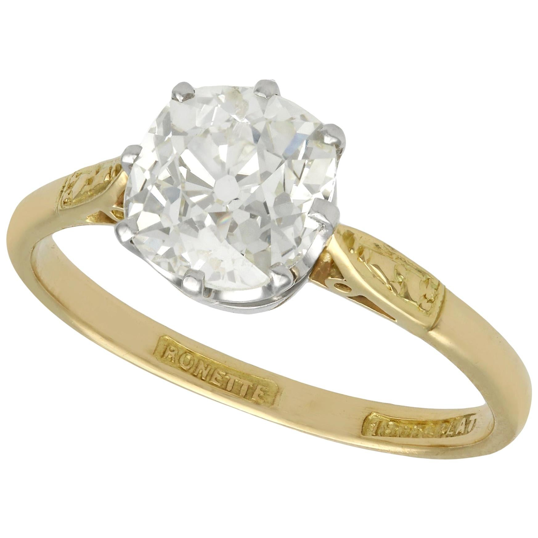 1.96 Carat Diamond and Yellow Gold Engagement Ring