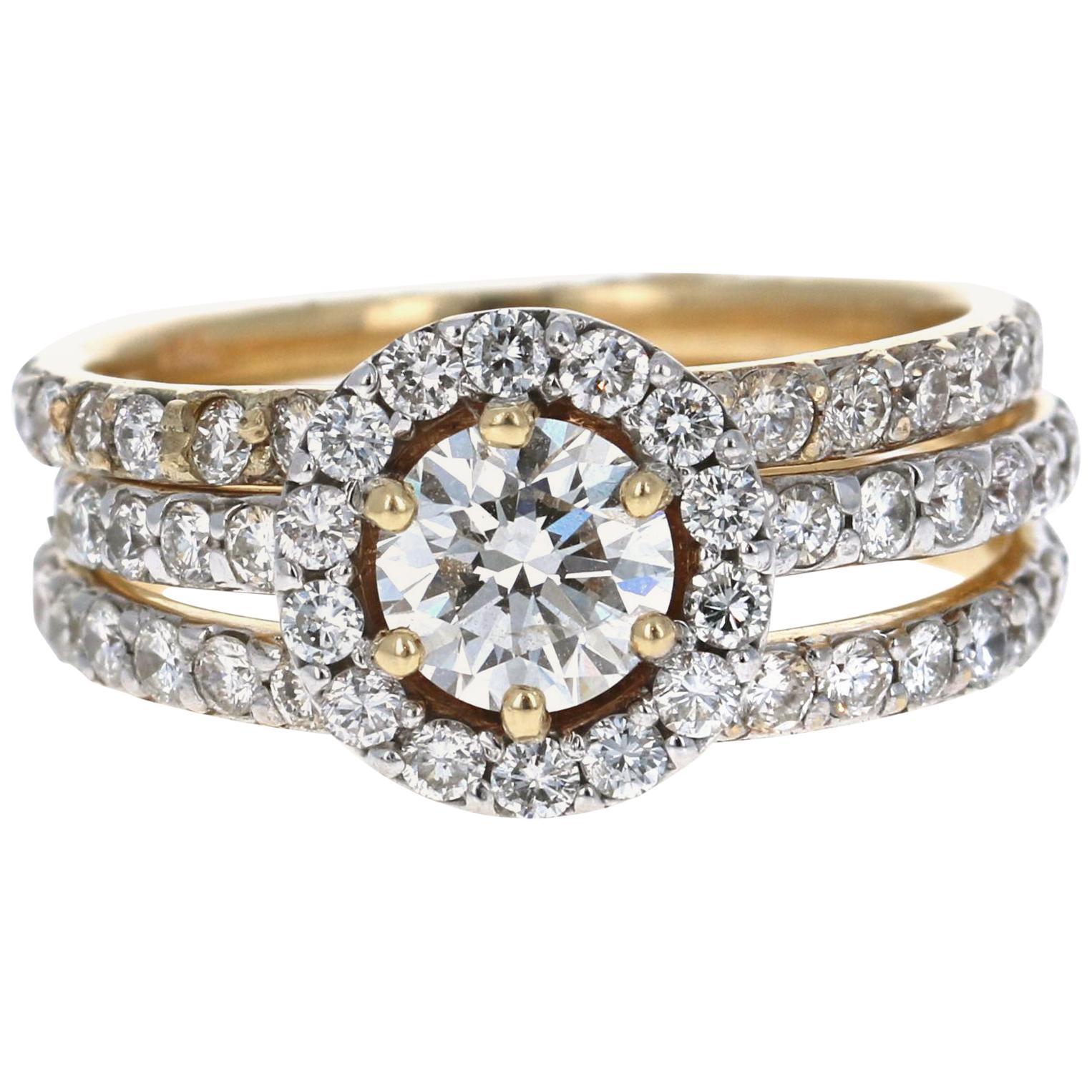 1.96 Carat Diamond Engagement Wedding Set 14 Karat Yellow Gold