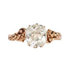 1.96 Carat Diamond Yellow Gold Engagement Ring