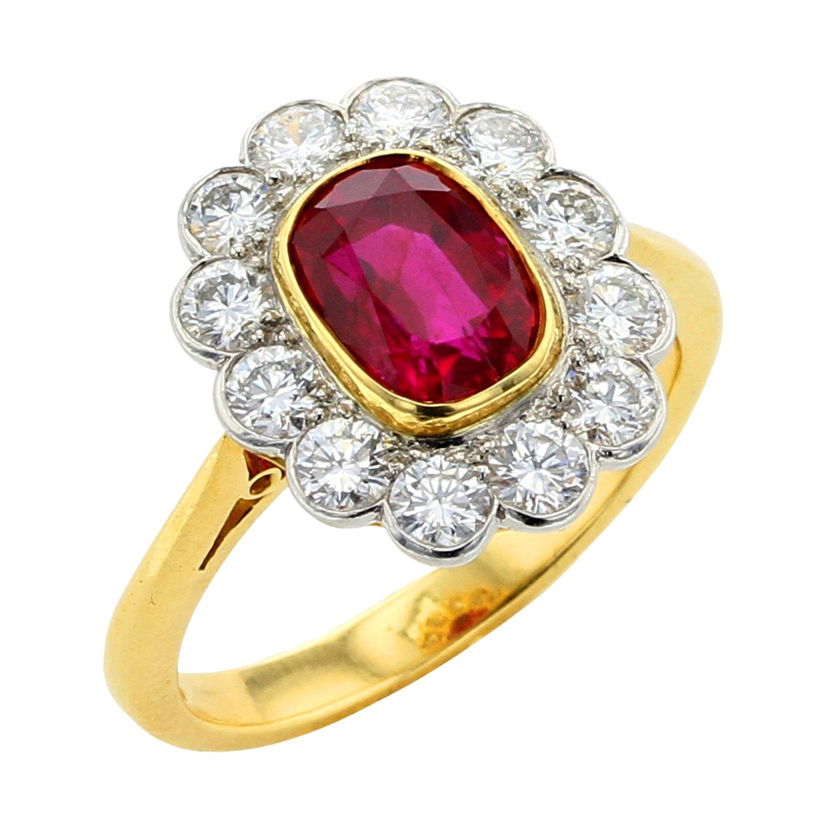 1.96 Carat Natural Burma No Heat Ruby Diamond Gold Platinum Cluster Ring