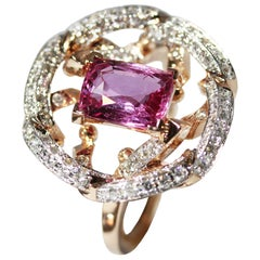 1.96 Carat Natural Pink Sapphire and Diamond Contemporary Cocktail Ring