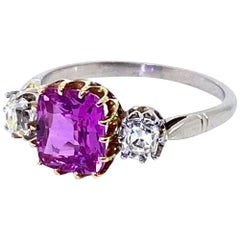 1.96 Carat Pink Sapphire and Cushion Cut Diamond Ring