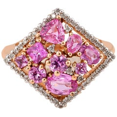 1.96 Carat Pink Sapphire Ring in 18 Karat Rose Gold with Diamonds