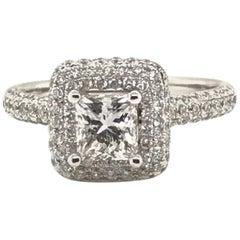 1.96 Carat Princess Cut Center with Rounds Diamond Ring