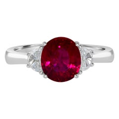 1.96 Carat Ruby and Diamond White Gold Three-Stone Ring