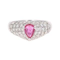 1.96 Carat Ruby Diamond 18 Karat White Gold Cocktail Ring