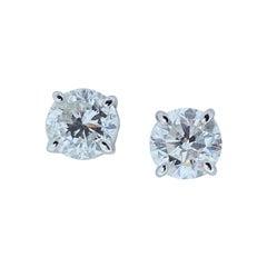 1.96 Carat Total Diamond Stud Earrings in 14 Karat White Gold