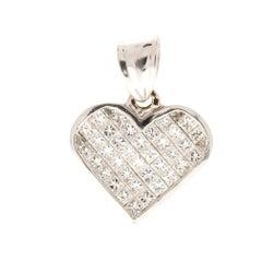 1.96 Carat Total Princess Cut Diamond Pendant in 14 Karat White Gold