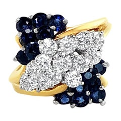 1.96 Carat 'total weight' Sapphire and Diamond Cluster Ring in 18 Karat Gold