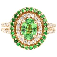 1.96 Carat Tsavorite Garnet Diamond Yellow Gold Cocktail Ring