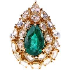 1.96 Carat Vivid Green Emerald and 2.48 Carat Yellow Diamond Cocktail Ring