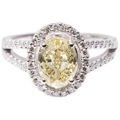 1.96 Fancy Yellow Natural Diamond GIA Certificate White Gold Diamond Halo Ring