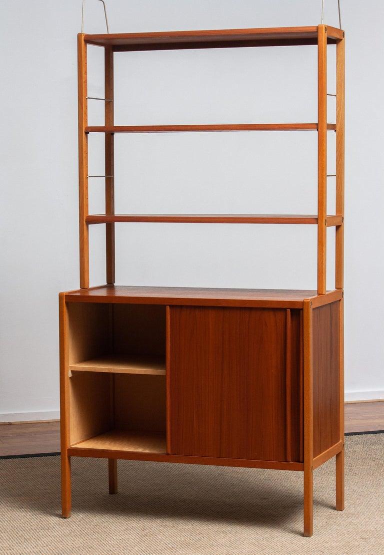 1960, 1 Teak / Oak and Brass Bookcase by Bertil Fridhagen for Bodafors, Sweden For Sale 4