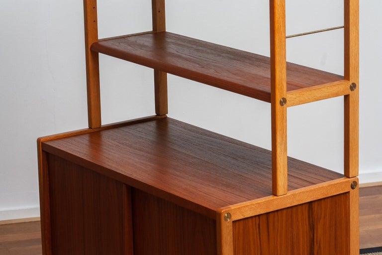 1960, 1 Teak / Oak and Brass Bookcase by Bertil Fridhagen for Bodafors, Sweden For Sale 6