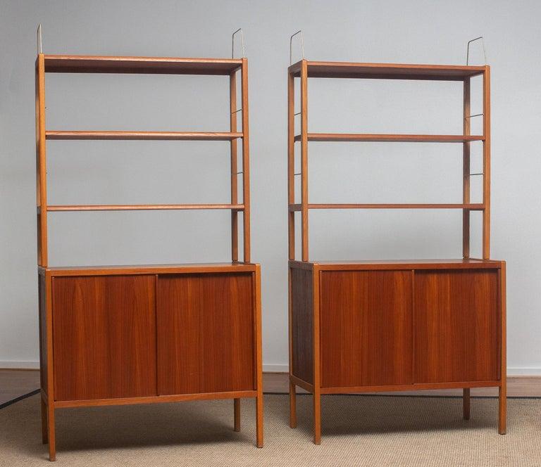 1960, 1 Teak / Oak and Brass Bookcase by Bertil Fridhagen for Bodafors, Sweden For Sale 9
