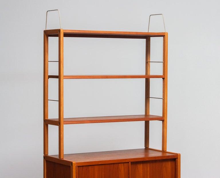 Swedish 1960, 1 Teak / Oak and Brass Bookcase by Bertil Fridhagen for Bodafors, Sweden For Sale