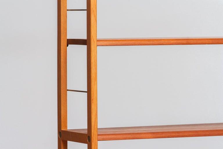 Mid-20th Century 1960, 1 Teak / Oak and Brass Bookcase by Bertil Fridhagen for Bodafors, Sweden For Sale