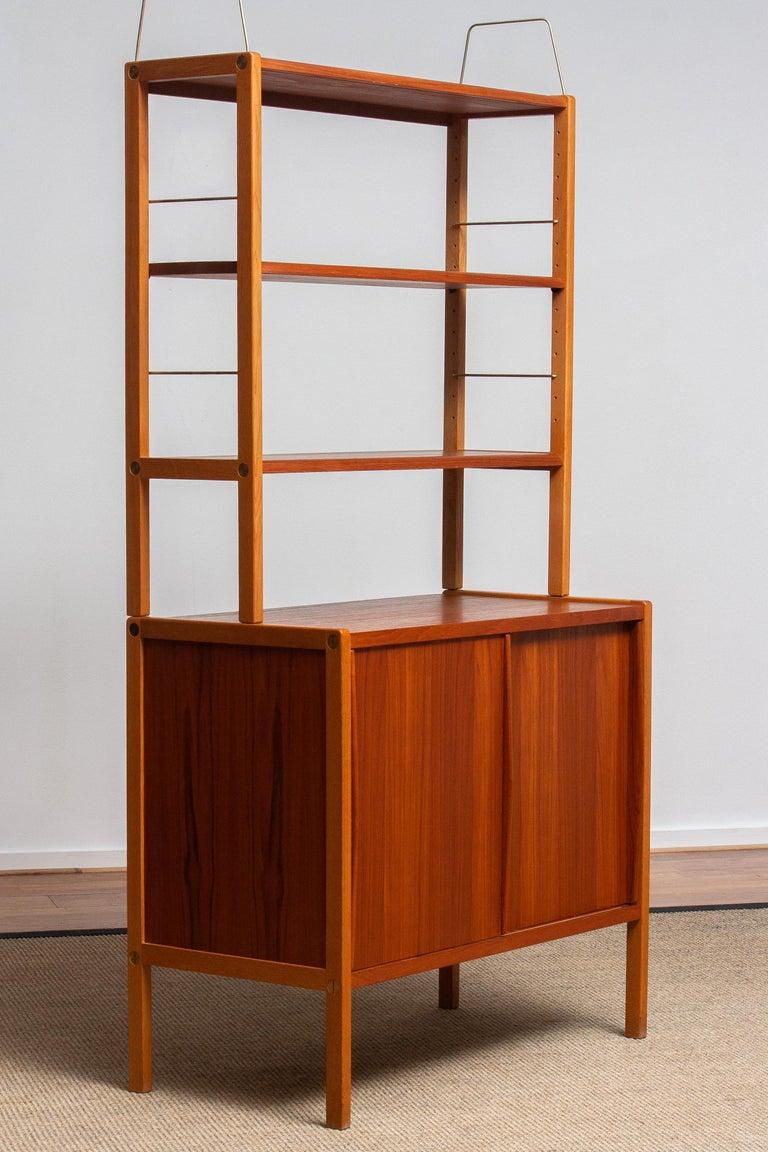 1960, 1 Teak / Oak and Brass Bookcase by Bertil Fridhagen for Bodafors, Sweden For Sale 1