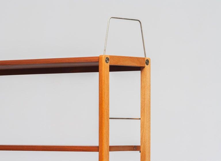 1960, 1 Teak / Oak and Brass Bookcase by Bertil Fridhagen for Bodafors, Sweden For Sale 2
