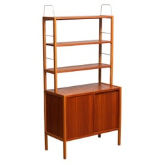 1960, 1 Teak or Oak and Brass Bookcase by Bertil Fridhagen for Bodafors, Sweden