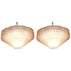 1960-1970 Pair of Venini Murano Doria Lechten Chandeliers 6 Levels 194 Crystal