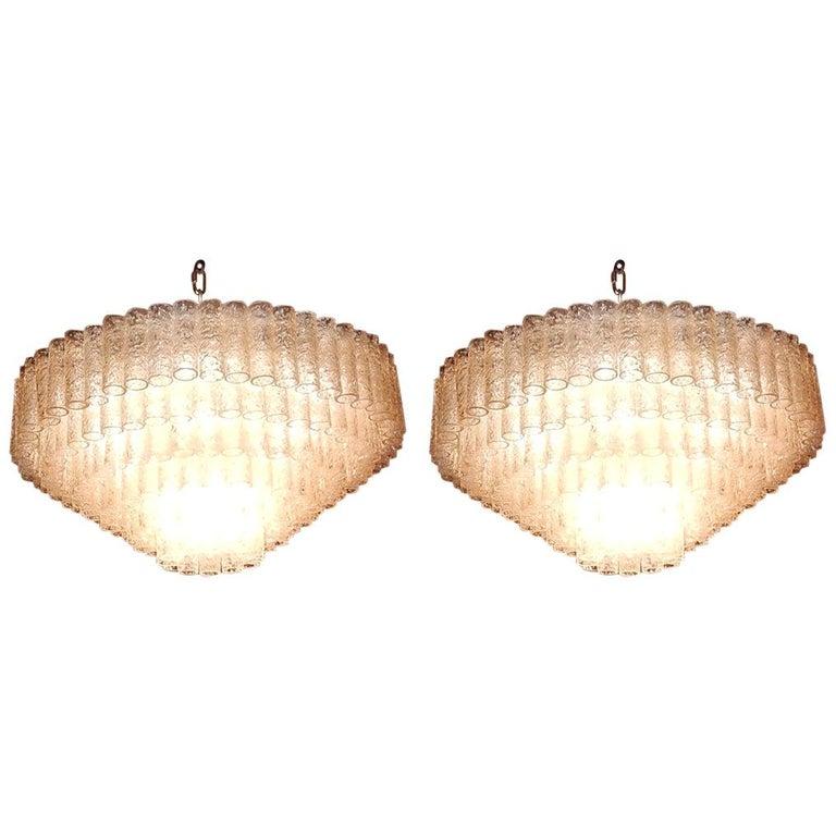 1960-1970 Pair of Venini Murano Doria Lechten Chandeliers 6 Levels 194 Crystal For Sale