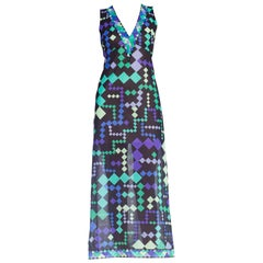 1970S PUCCI Purple & Blue Slinky Nylon Jersey Negligee Slip Dress