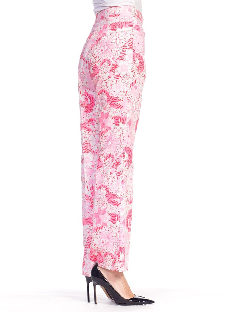 1970S LILLY PULITZER Pink  & White Cotton Floral Tiger Print Pants For Sale 1