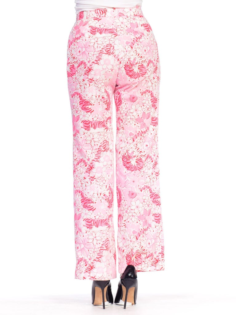 1970S LILLY PULITZER Pink  & White Cotton Floral Tiger Print Pants For Sale 2