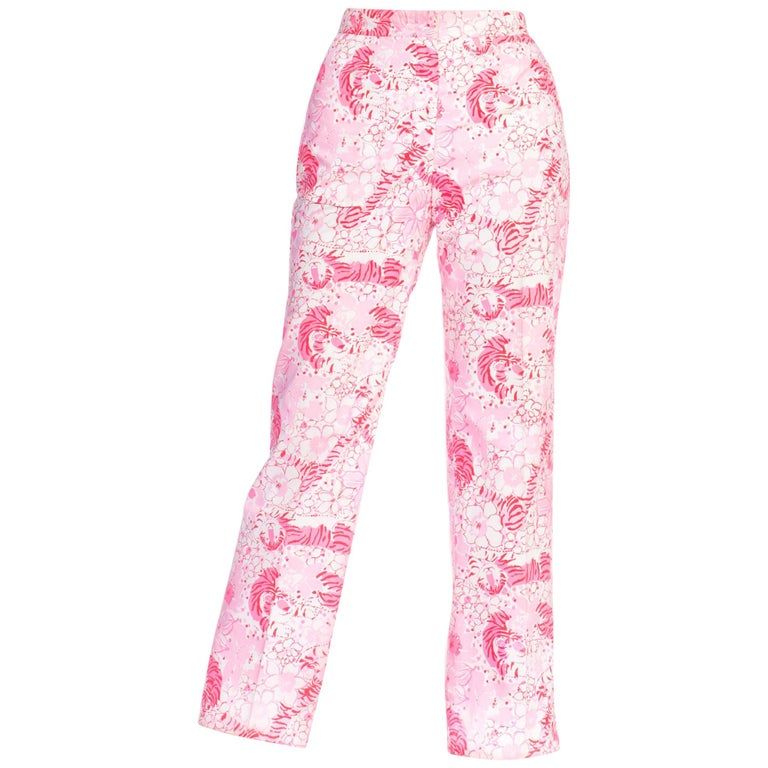 1970S LILLY PULITZER Pink  & White Cotton Floral Tiger Print Pants For Sale