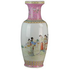 1960-1980 Jingdezhen PRoC Vase Ladies Picknick Calligraphy Chinese Marked