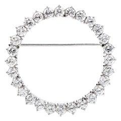1960 3.00 Carats Diamond Wreath Platinum Round Brooch Pin