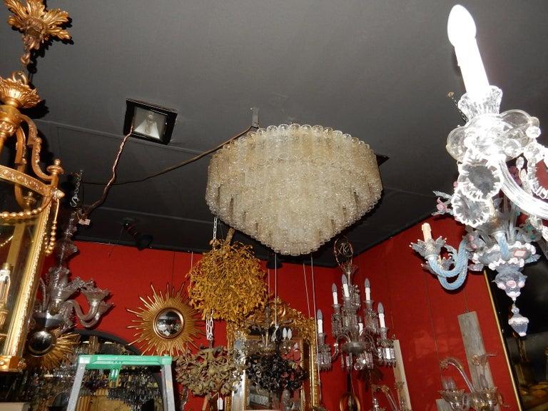 Art Deco 1960-1970 Pair of Venini Murano Doria Lechten Chandeliers 6 Levels 194 Crystal For Sale