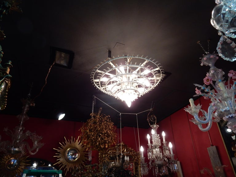 Forged 1960-1970 Pair of Venini Murano Doria Lechten Chandeliers 6 Levels 194 Crystal For Sale