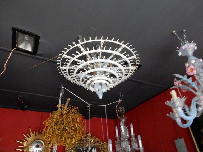 1960-1970 Pair of Venini Murano Doria Lechten Chandeliers 6 Levels 194 Crystal In Good Condition For Sale In Paris, FR