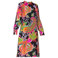 1960'S 1960/70'S Mod Psychedelic Neon Floral Paisley Dress