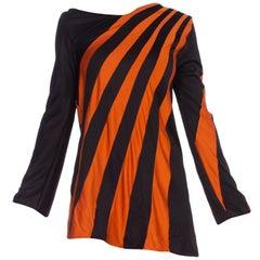 1960S Black & Orange Polyester Jersey Op-Art Stripe Micro Mini Mod Tunic Dress