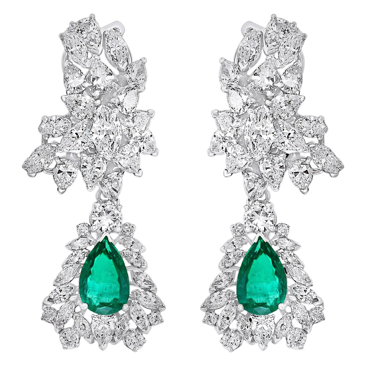 1960 AGL Certified Colombian Minor Traditional Emerald Diamond Drop Earrings PT